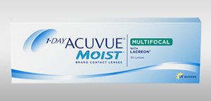 Pack of 30 lenses. 1-DAY ACUVUE® MOIST Brand MULTIFOCAL Contact Lenses with LACREON® Technology and UV Blocking