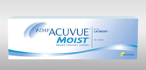 Pack of 30 1-DAY ACUVUE® MOIST Contact Lenses with LACREON Technology and UV blocking